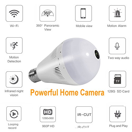 Bellcam Light Bulb Security Camera, Wifi IP Wireless Home Surveillance System, Pet Baby Monitor, lamp Cam, 960P HD 360° Fisheye Panoramic Lens With Night Vision Motion Detection Two-way Talking