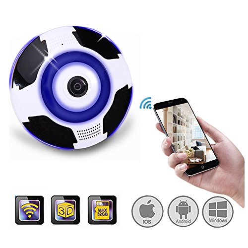 Home Camera, 1080P WiFi Wireless IP Security Surveillance Camera for Baby /Elder/ Pet/Nanny Monitor with Night Vision K2 (White/Indoor Dome 360 Degree Fish-eye Lens)