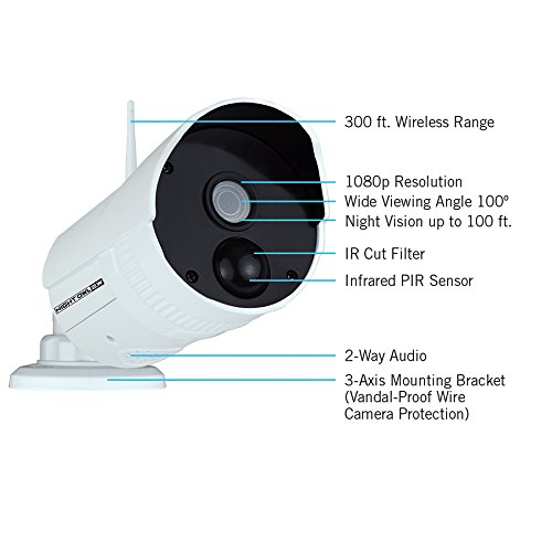 Night Owl WNVR201-88P-B 8 Channel Wireless Smart Security Hub with 8 x 1080p Infrared IP Cameras & 1 TB HDD, White