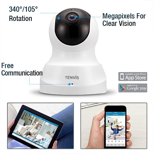 TENVIS HD IP Camera - Wireless IP Camera with Two-way Audio, Night Vision Camera, 2.4GHz & 720P Camera for Pet Baby Monitor, Home Security Camera Motion Detection Indoor Camera with Micro SD Card Slot