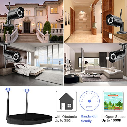 Wireless Security Camera System,Safevant Full-HD 4CH Video Security System with 4pcs 1080p Wireless Security Cameras,65ft Night Vision,Pre-installed 2TB Hard Drive,Auto-Pair,Plug&Play