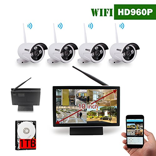 10 inch Screen OOSSXX HD Wireless Video Security Camera System,4 pcs 960P Megapixel Wireless Weatherproof Bullet IP Cameras,Plug and Play,70FT Night Vision,P2P,App, 1TB HDD Pre-install