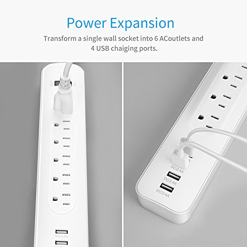 6 Outlet Power Strip Surge Protector Power Port Strip with 4 USB Charging Ports and 6ft Extension Cord for iPhone 6s / 7 Plus, and Robotic Vacuum, Air Purifier, Tablets, White