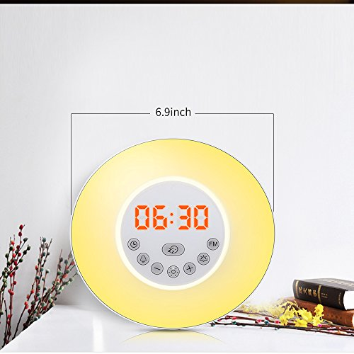 Alarm Clock , Abcret Wake Up Light and LED Sunrise Simulator with 6 sounds Sunrise &7 colors, Bedside Night Light with Sunset &Snooze Function, Nature Sounds, FM Radio