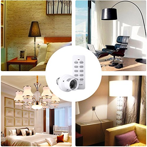 Dewenwils Remote Control Light Lamp Socket E26/E27 Bulb Base, Wireless Light Switch Kit, White (Learning Code, 4 Sockets 2 Remotes)
