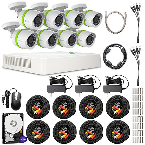 EZVIZ FULL HD 1080p Outdoor Surveillance System, 8 Weatherproof HD Security Cameras, 8 Channel 2TB DVR Storage, 100ft Night Vision, Customizable Motion Detection