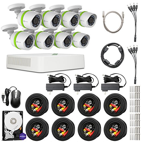 EZVIZ HD 720p Outdoor Surveillance System, 8 Weatherproof HD Security Cameras, 8 Channel 1TB DVR Storage, 100ft Night Vision, Customizable Motion Detection