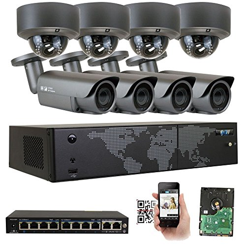 GW Security AutoFocus 4X Optical Motorized Zoom IP Camera System, 16 Channel H.265 4K NVR, (8) Bullet & (8) Dome 5MP HD 1920P Weatherproof POE Security Camera