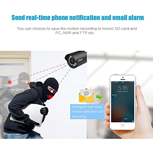 ieGeek Wifi Wireless Security Camera Outdoor IP Camera Home Surveillance System (720P HD, Night Vision, Motion Detect, Email Alert, Remote View Via Smart Phone/Tablet/PC, Up to 128GB Micro SD) Black