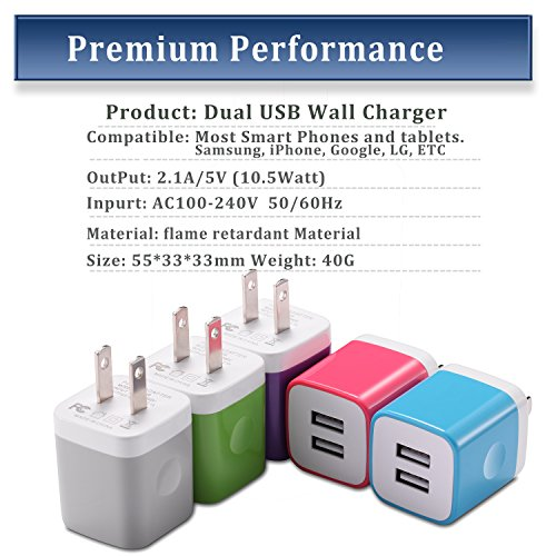 iPhone Wall Charger, STELECH USB Plug 5-Pack 2.1A Universal Home Travel Dual USB Wall Charger for iPhone 7 Plus/ 7 / 6S / 6 Plus / 5S, iPad, Samsung, Nexus, LG, HTC, Android Phone and More