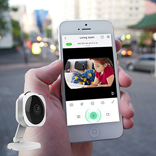 JCO Mini 180°Indoor Home Camera-1080P HD WiFi Wireless IP Security Surveillance for Baby/Elder/Pet Monitor with Infrared Night Vision, Motion Alert,2 Way Audio, Electronic Pan/Tilt/Zoom, SD Card Slot