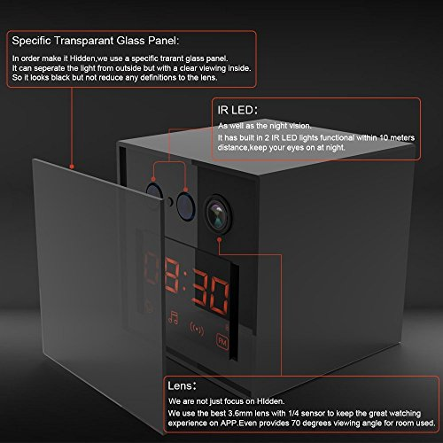 LIZVIE 1080P HD Hidden Spy Clock Nanny Camera with Enhanced Night Vision, Wireless Speaker, Motion Detection, Invisible Lens, Video Recorder, FM Radio, 12&24 Alarm Clock(Pro Version)
