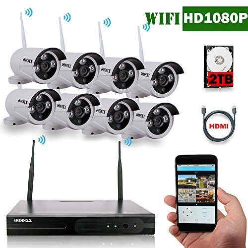 OOSSXX 8-Channel HD 1080P Wireless System/IP Security Camera System 8Pcs 2.0 Megapixel Wireless Indoor/Outdoor IR Bullet IP Cameras,P2P,App, HDMI Cord & 2TB HDD Pre-install