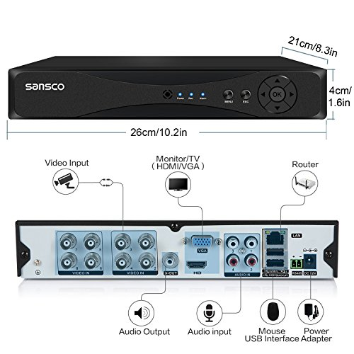 SANSCO CCTV Security Camera System with 8-Channel 1080N DVR, 4 Bullet Cameras (All HD 720p 1MP), and 1TB Internal Hard Drive Disk - All-in-One EXPANDABLE Wired Surveillance Cameras Kit