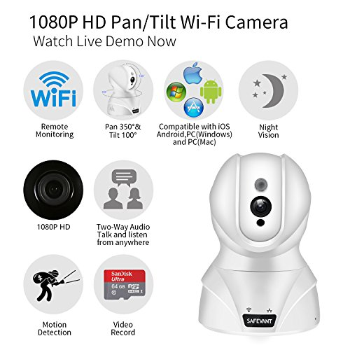 Security Camera, SAFEVANT HD Wireless IP Camera Wifi Surveillance Video Recorder With Two Way Audio Night Vision For Pet Monitor, Nanny Camera, Baby Monitor and Puppy Cam (1080P-White)
