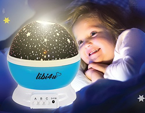 Space party and ceiling stars for kids bedroom with star projector night light planetarium for baby, toddler, nursery and kids, with bonus led lamp smart sensor. by libi4u