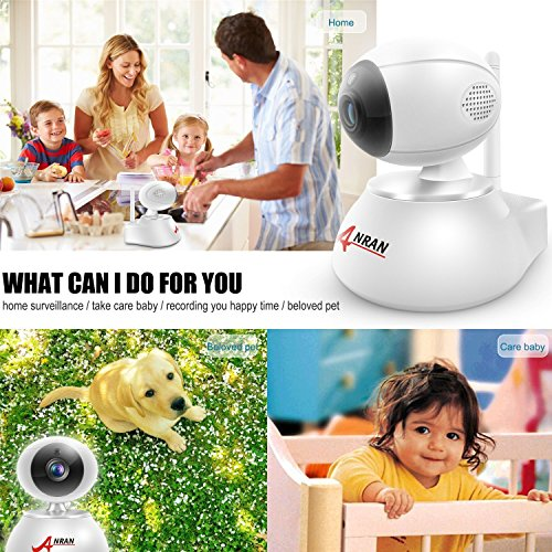 Wireless IP Camera Home Wifi Security HD 720P ANRAN Baby Monitor Video Surveillance Network Webcam - Plug Play, Night Vision, Two Way Audio, Pan/Tilt