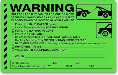 You are Illegally Parked for One (or more) of, Fluorescent Stickers, 50 Stickers / Pack, 8