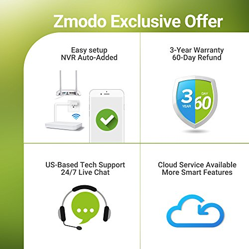 Zmodo 8 Channel 1080p HDMI NVR System Wireless 4 x Outdoor 720p HD + 4 x Indoor Wide Angle Wireless Security Camera System 500GB Hard Drive, Cloud Service Available