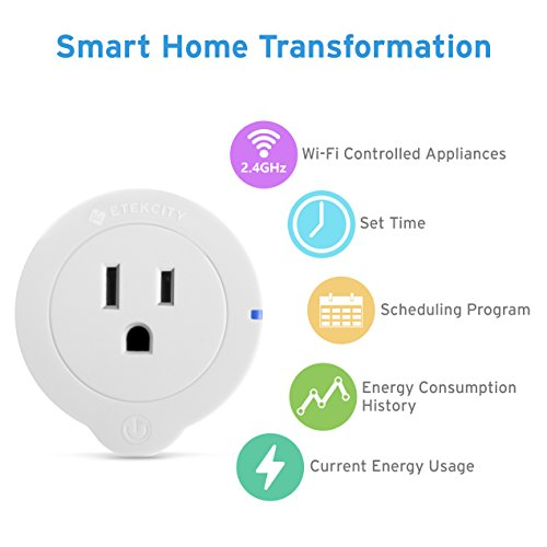 Etekcity 4 Pack WiFi Smart Plug Mini Outlet with Energy Monitoring, Works with Amazon Alexa Echo, No Hub Required, 1 Minute to Set Up, White