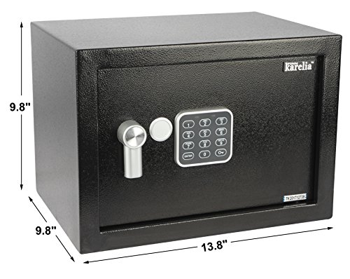 Finnkarelia Digital Security Box, Safe Box, Security Safe for Jewelry, Gun, Cash, Passport and more, Compact Size 13.8x9.8x9.8 inches, Black (0.17 / 0.3 / 0.5 cubic feet)