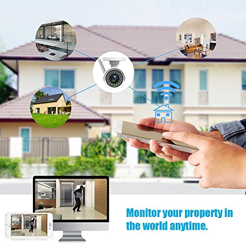 ieGeek Wifi Wireless Security Camera Outdoor IP Camera Home Surveillance System (720P HD, Night Vision, Motion Detect, Email Alert, Remote View Via Smart Phone/Tablet/PC, Up to 128GB Micro SD)