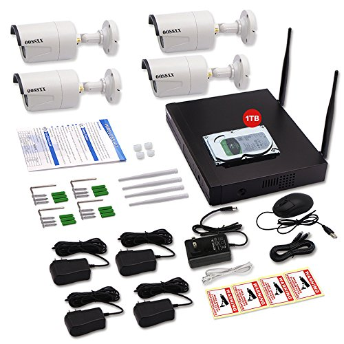 OOSSXX 8-Channel HD 1080P Wireless Network/IP Security Camera System(IP Wireless WIFI NVR Kits),4Pcs 960P Megapixel Wireless Indoor/Outdoor IR Bullet IP Cameras,P2P,App,1TB HDD