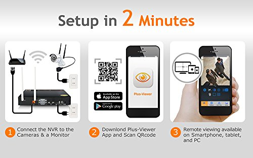 Plustek Wireless NVR Home Security Camera System - 1TB HDD WiFi 5Ghz - Dual Antenna - 4CH Outdoor IR Motion Detection Night Vision Cam- Front Door Driveway Outdoor Surveillance Alarm - Plug & Play