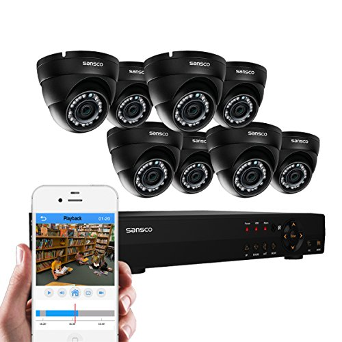 SANSCO CCTV Security Camera System with 8-Channel 1080N DVR and 8 Dome Cameras (All HD 1MP) Smart Video Surveillance Kit
