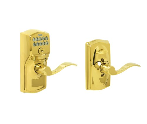 Schlage FE595 CAM 505 ACC Camelot Keypad Entry with Flex-Lock and Accent Levers, Bright Brass