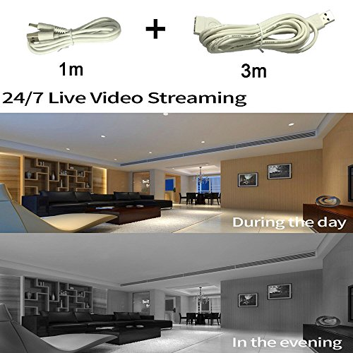 Security Camera WIFI IP Camera Wireless Home Surveillance Camera WiFi Dog/Baby Monitor with Cloud Storage Live Steam Night Vision Pan/Tilt Two way Audio 1+3Meter Power Cable Extension Cable Nettoly