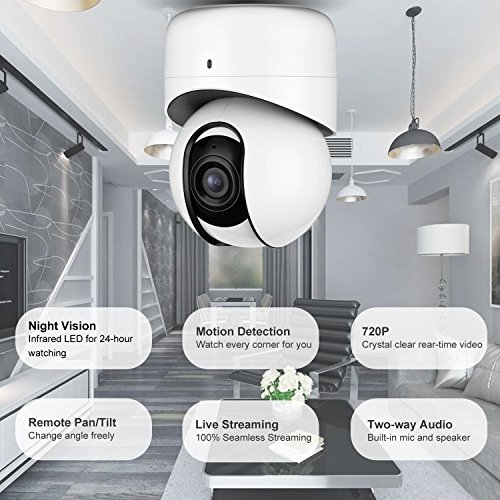 Wireless Security Camera, WiFi Home Security IP Camera PT Baby Monitor with 2-Way Audio, Intelligent Motion Detection and Remote Pan/Tilt/Zoom