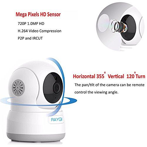 Wireless Security IP Camera, RAYQI 720P HD WiFi IP Cam Home Surveillance Security System Video Recording with Pan/Tilt, Two-Way Audio, Night Vision, Motion Detection Alert for Baby/ Pet/ Nanny Monitor
