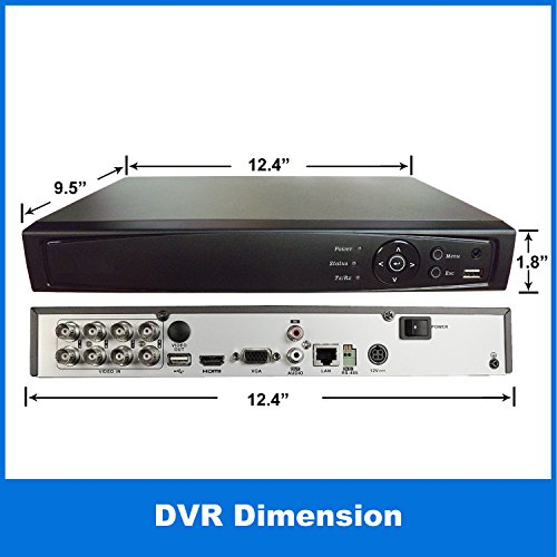 1stPV HD-TVI/Analog/IP 3 in 1 True-HD 1080p H.264 Digital Video Recorder Internet & Mobile Phone HDMI Smart Recording Playback Great for Home Office CCTV System, 8CH HD-TVI DVR, w/ 1TB HDD