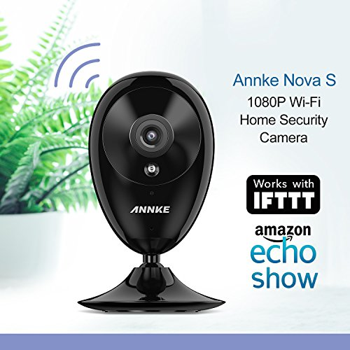 ANNKE Nova S 1080P Smart Wi-Fi Home Security Camera Works with Alexa Echo Show, IFTTT, Motion Detection App Push Alarm, Cloud Storage, Day and Night Vision Indoor Security Camera, Two-way Audio, Black