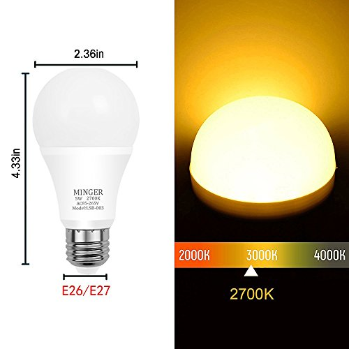 Dusk to Dawn Lights Bulb, MINGER 5W Smart LED Bulbs with Auto on/off, Indoor / Outdoor Lighting Lamp for Porch, Hallway, Patio, Garage (E26/E27, 450lumen, Warm White) [6-Pack]