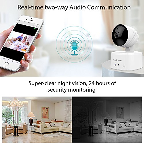 Ebitcam 1080P HD Smart Wifi Dome Camera,Baby/Pet Monitoring Wireless Security Camera, Pan/Tilt/Zoom,Night Vision, Schedule Recording, Motion Alarm,Remote Real-time Monitoring with Two-way Audio (E2-X)