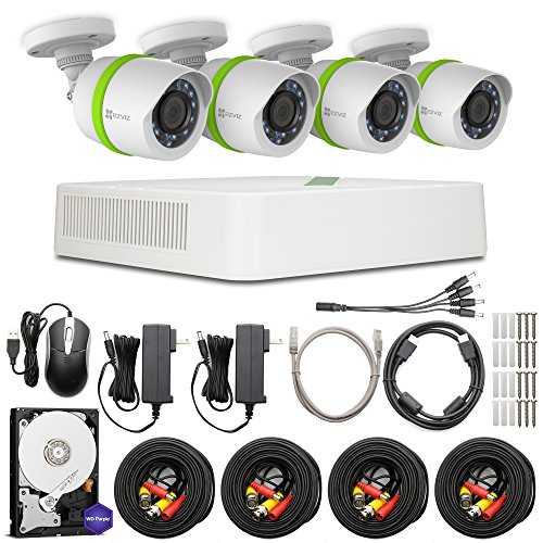 EZVIZ FULL HD 1080p Outdoor Surveillance System, 4 Weatherproof HD Security Cameras, 8 Channel 1TB DVR Storage, 100ft Night Vision, Customizable Motion Detection