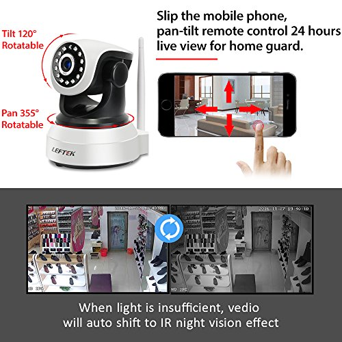 LEFTEK IP Camera 720P Network IP Camera With Two Way Audio Remote Wireless Baby Monitor PnP Night Vision And More For Android/iOS/iPhone/iPad/Tablet F1-10I