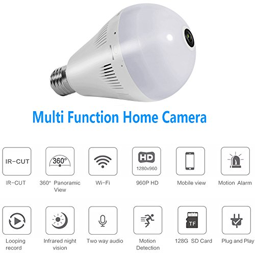 Loras Dome Camera, Home Motion Sensor Security Cam, Light LED Bulb Lamp Camera, Wifi IP Wireless Surveillance System, Pet Baby Monitor, Support Motion Detection, Loop Recording, Two-way Talk