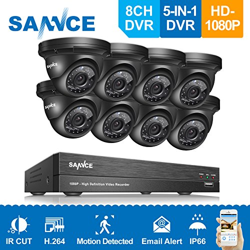 SANNCE 8CH 1080P AHD Security DVR Recorder and (8) HD 1080P Outdoor Fixed Metal Surveillance Cameras, Super night vision,Motion Detection, IP66 Weatherproof Housing No HDD