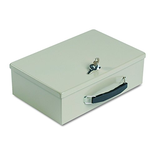 SteelMaster 221614003 Heavy-Duty Steel Fire-Retardant Security Cash Box, Key Lock, Sand