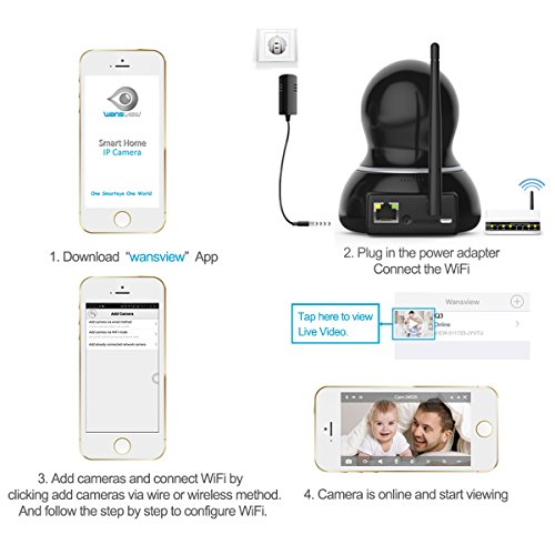 Wansview Wireless Security Camera, WiFi Home Monitor Surveillance Camera for Baby /Elder/ Pet/Nanny Monitor, Pan/Tilt, Two-Way Audio & Night Vision Q3(Black)