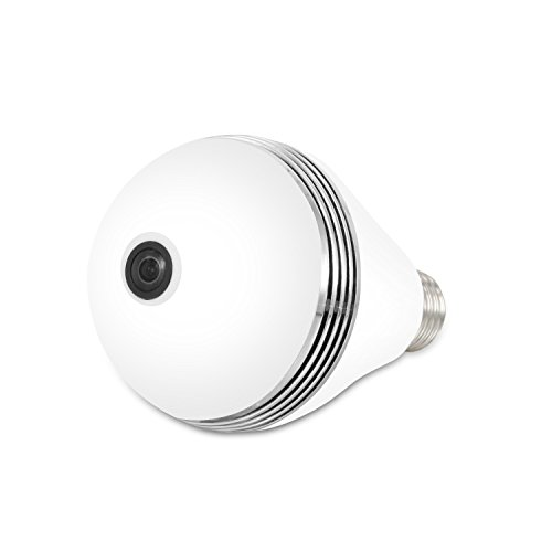 Aibole Dome Camera Wifi Wireless 360 Degree Full Lighting Panoramic Fisheye Network Cameras LED Bulb Indoor Outdoor Lighting Lamp Home Security Monitor System White