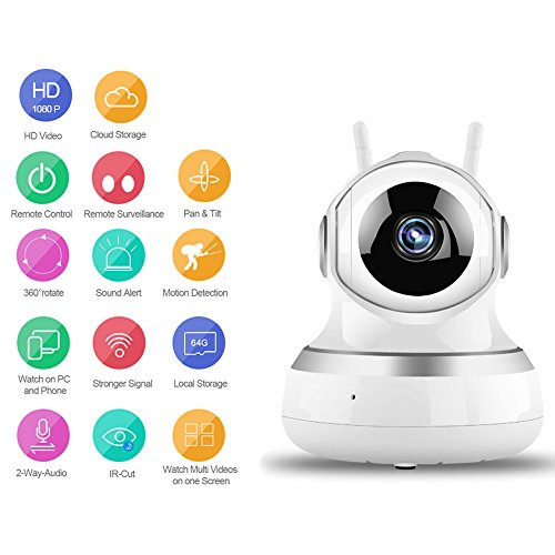 GBS Smart 1080P Wireless Home Camera With WIFI/WLAN, Security Dome Camera With Motion E-Mail Alert/ 2-Way-Audio/Night Vision (White)
