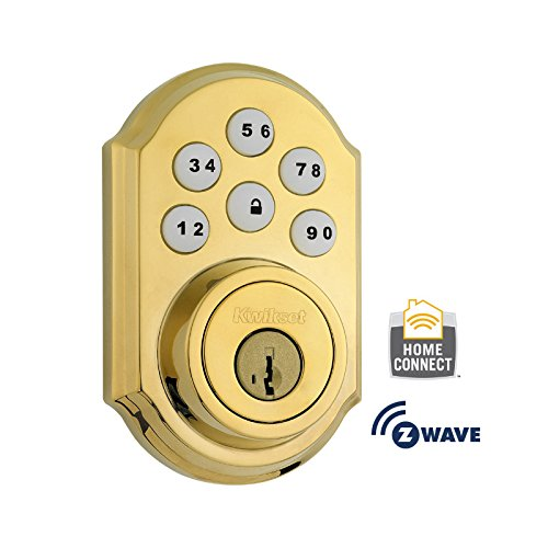 Kwikset Corporation 99100-004 Z-Wave SmartCode Electronic Touchpad Deadbolt, Works with Amazon Alexa via SmartThings, Wink, or Iris featuring SmartKey in Polished Brass