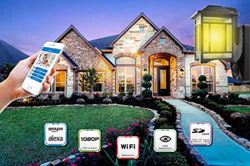 Lamp Camera Wifi Video Light Outdoor Camera Decor Light for Home 1080P Home Lights Front Light Can Work with Amazon Alexa ( 32G TF RAM and 2 LED Bulbs Included)