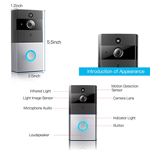 LeadTry VDC-07 Wireless Wi-Fi Video Doorbell Cam, 720P HD Security Camera Built-in 8G Memory Card, PIR Motion Detection, Real-Time Two-Way Talk and Video, Night Vision, App Control for IOS/ Android