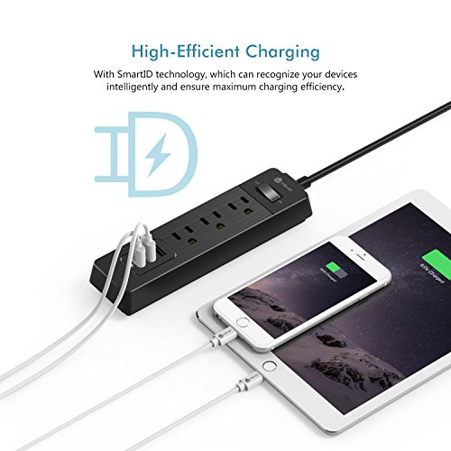 [Overload Switch Control] iClever BoostStrip IC-BS04 Smart Power Strip | USB Charger with 3 USB + 3 AC Outlets, 6ft Extension Cord Charging Station - Black