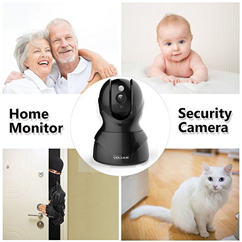 VOLGER Indoor 1080P HD WiFi Security Camera IP Camera Home Surveillance Nanny Cam Motion Detection Alert Two-Way Audio Night Vision Remote Control (Black)